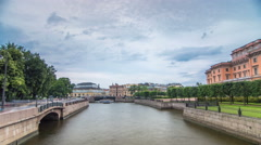 View of the Embankment of the river Moyka and Mikhailovsky Castle timelapse Stock Footage