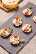 Canapes, Appetizer with creamy Chicken salad Stock Photos