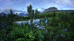 River and mountains, Glacier National Park, Montana Stock Footage