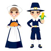 Thanksgiving Pilgrim Children Stock Illustration