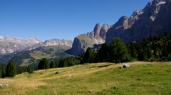 Sella pass in Dolomites, italian Alps Stock Footage