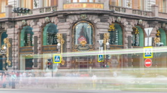 Entrance to Singer House at the Saint Petersburg timelapse Stock Footage