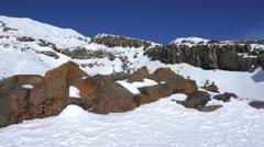 Snow cap on Mount Ruapehu summit Stock Footage