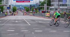 The first cyclists are approaching the finish line Stock Footage