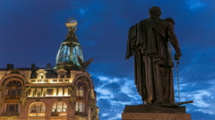 Singer House and Kutuzov monument at the Saint Petersburg night timelapse - stock footage