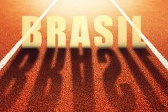 Brasil title on athletic sport running track Stock Photos