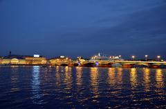 Night. river Neva. drawbridge Stock Photos