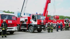 Special transport and fire brigades stand in formation Stock Footage