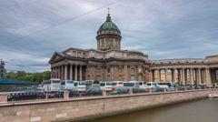 Kazan Cathedral or Kazanskiy Kafedralniy Sobor timelapse hyperlapse in Saint - stock footage