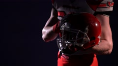 American football player with helemt Stock Footage