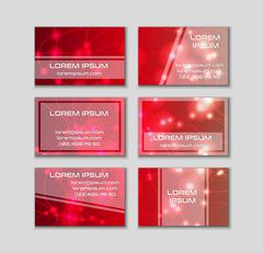 Business card collection. Abstract shining glow decorative elements with tran - stock illustration