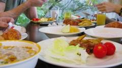 People get breakfast on table near window. Timelapse Stock Footage