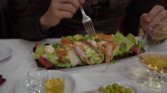 Man Eating A Seafood Salad Stock Footage