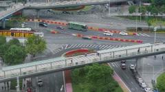 Road traffic under pedestrians bridges. Timelapse Stock Footage