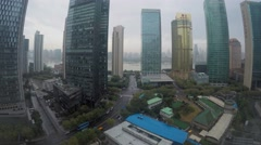 Cityscape with traffic among skyscrapers on shore of Hanghan river Stock Footage