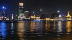Ships sails by Hanghan river near skyscrapers on shore at evening Stock Footage