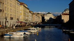 Typical canal and houses in Trieste, Italy, timelapse Stock Footage