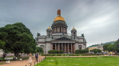 St. Isaac Cathedral timelapse hyperlapse in Saint-Petersburg, Russia. Sityscape Stock Footage