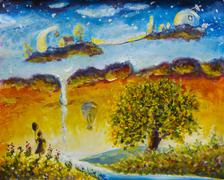 Magic Land childhood. Fabulous home on clouds. Little girl with ball. Big tre Stock Illustration