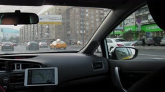 Street ride in taxi with GPS navigator. Timelapse. Moscow. Stock Footage