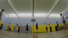 Sportsmen play volleyball in gym. Timelapse. Moscow. Stock Footage
