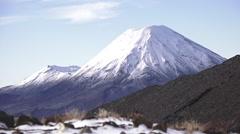 Winter landscape of Mount Ngauruhoe and Mount Tongariro Stock Footage