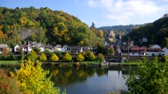 Castle and village Balduinstein and river Lahn Stock Footage