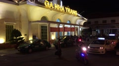 Nha Trang railway station at night, Vietnam Stock Footage