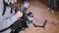 Operator work with professional camera equipment in studio Stock Footage