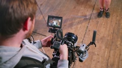 Operator uses professional device with screen during survey action Stock Footage