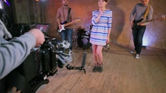 Operator shots musicians band performance with professional equipment Stock Footage