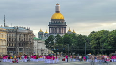 Saint Isaac's cathedral from the Palace square timelapse hyperlapse in Saint Stock Footage