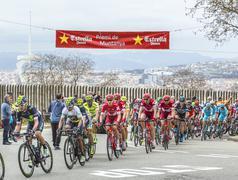 Barcelona, Spain - March 27, 2016: The Peloton - Tour de Catalunya 2016 - stock photo