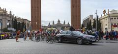 Barcelona, Spain - March27, 2016:  The Peloton - Tour de Catalunya 2016 Kuvituskuvat