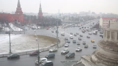 Traffic congestion on Borovitskaya Square on a cloudy spring day Stock Footage