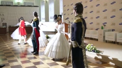 Pairs dancing ballroom dances in historical costumes Stock Footage