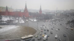 The Armoury and Borovitskaya of Kremlin tower on cloudy day Stock Footage