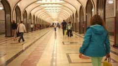 People walk on Mayakovskaya metro station in Moscow Stock Footage