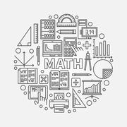 Math round line illustration Stock Illustration