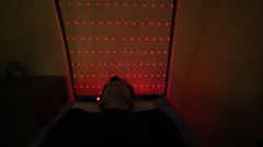The man lies in the anti-stress room New Stressless Stock Footage