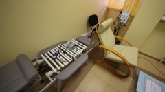 Massage bed with the mechanism of the tubes in Rehabilitation Center Stock Footage
