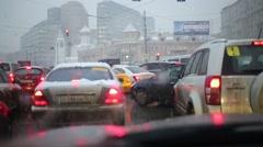 Traffic jam on the Tverskaya Zastava Square and the Temple Stock Footage