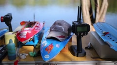 Radio-controlled models of boats and equipment on the table Stock Footage