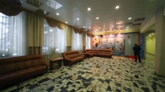 The spacious lobby with sofas in the Training Center Stock Footage