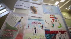 Posters with slogans calling to quit using drugs on poster competition Stock Footage