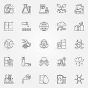 Pollution icons set - stock illustration