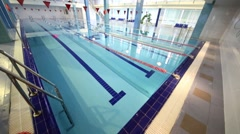 Spacious and light swimming pool with lanes  in the Training Center Stock Footage