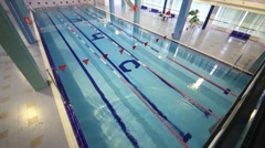 Ripples on the water in a swimming pool in the Training Center Stock Footage