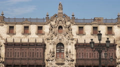 Zoom out close up of the archbishops palace in lima Stock Footage