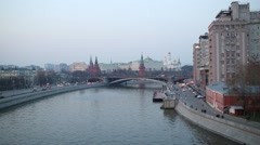 View of the River Moscow and the Kremlin in Moscow, Russia Stock Footage